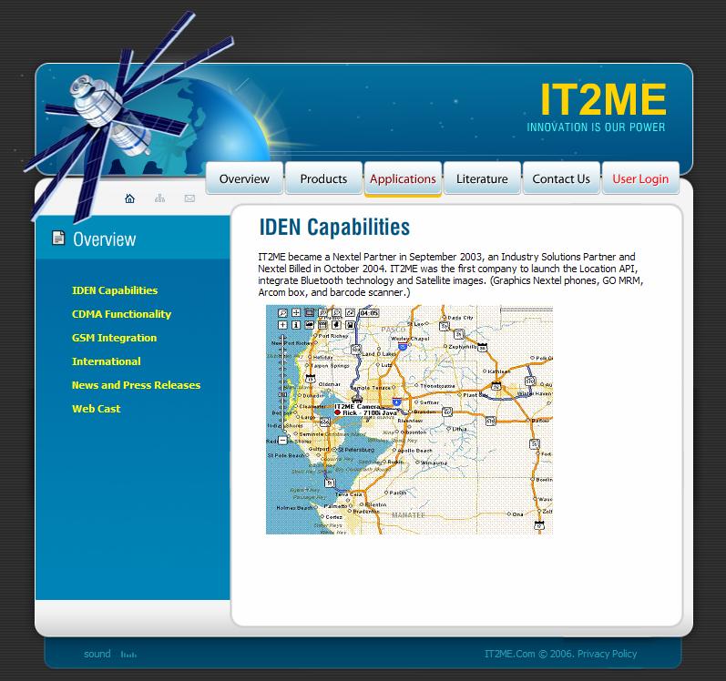 Флеш-сайт IT2ME, интерфейс карт MapUI